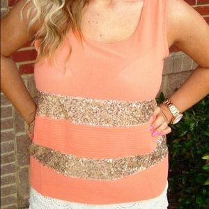Coral Orange Top with Gold Sequin Detail